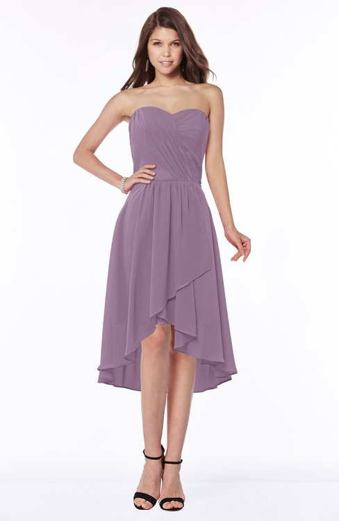 ColsBM Amaya Valerian Mature A-line Strapless Chiffon Knee Length Ruching Bridesmaid Dresses