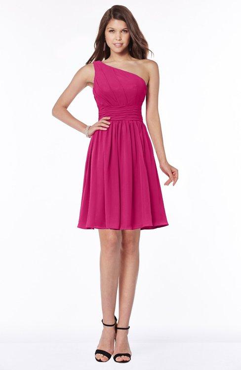 ColsBM Julia Beetroot Purple Classic One Shoulder Sleeveless Chiffon Knee Length Ruching Bridesmaid Dresses