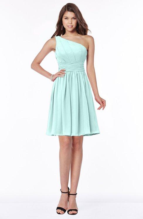 ColsBM Julia Blue Glass Classic One Shoulder Sleeveless Chiffon Knee Length Ruching Bridesmaid Dresses