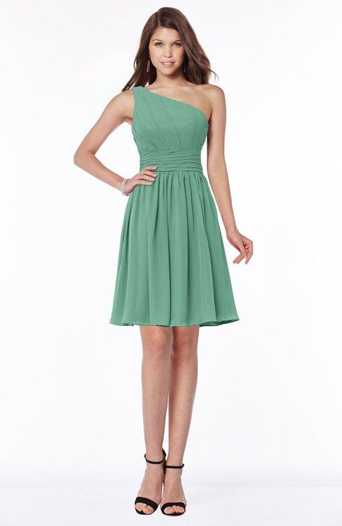ColsBM Julia Bristol Blue Classic One Shoulder Sleeveless Chiffon Knee Length Ruching Bridesmaid Dresses