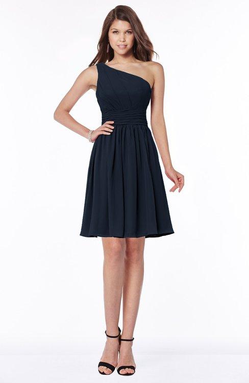 ColsBM Julia Navy Blue Classic One Shoulder Sleeveless Chiffon Knee Length Ruching Bridesmaid Dresses