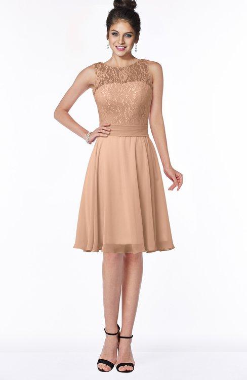 ColsBM Helen Almost Apricot Glamorous A-line Scoop Zip up Chiffon Sash Bridesmaid Dresses