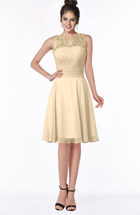 ColsBM Helen Apricot Gelato Glamorous A-line Scoop Zip up Chiffon Sash Bridesmaid Dresses