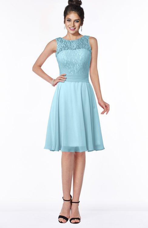 ColsBM Helen Aqua Glamorous A-line Scoop Zip up Chiffon Sash Bridesmaid Dresses