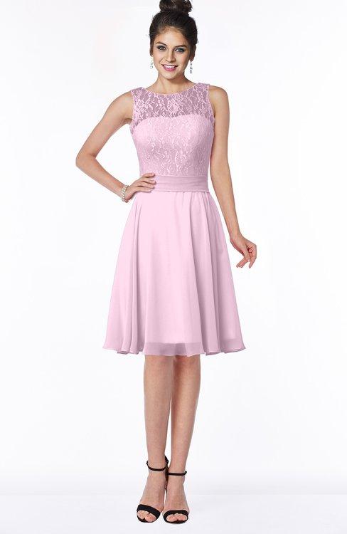 ColsBM Helen Baby Pink Glamorous A-line Scoop Zip up Chiffon Sash Bridesmaid Dresses