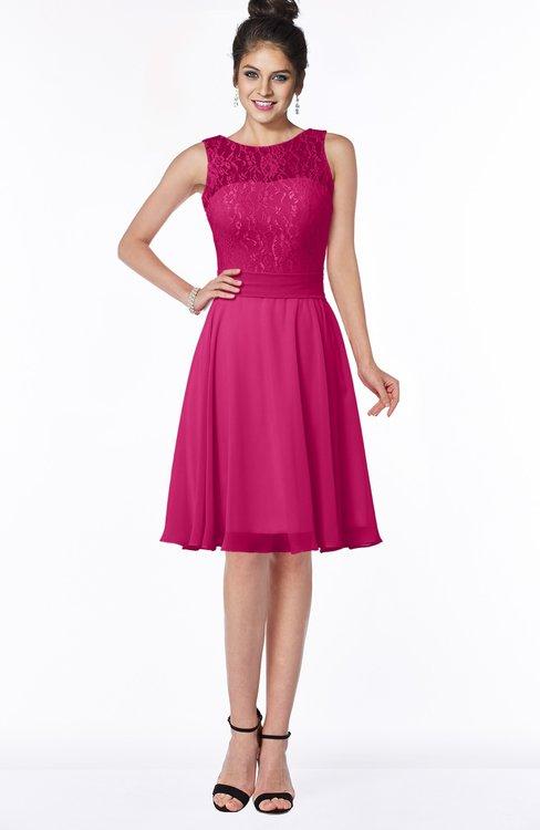 ColsBM Helen Beetroot Purple Glamorous A-line Scoop Zip up Chiffon Sash Bridesmaid Dresses