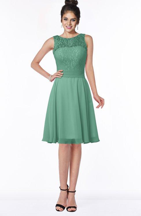 ColsBM Helen Beryl Green Glamorous A-line Scoop Zip up Chiffon Sash Bridesmaid Dresses