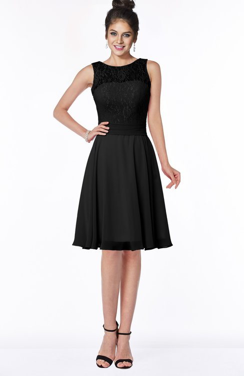 ColsBM Helen Black Glamorous A-line Scoop Zip up Chiffon Sash Bridesmaid Dresses