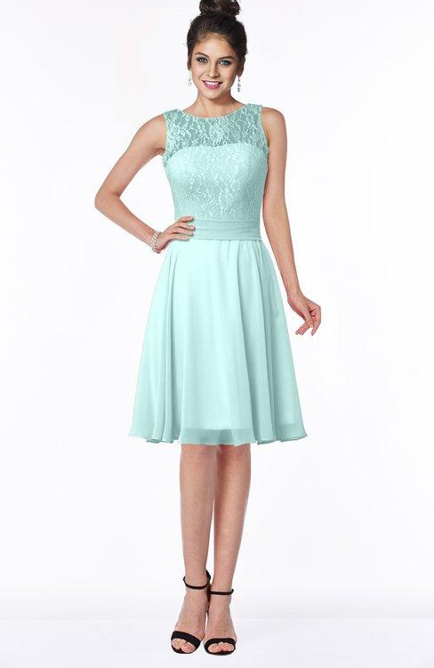 ColsBM Helen Blue Glass Glamorous A-line Scoop Zip up Chiffon Sash Bridesmaid Dresses