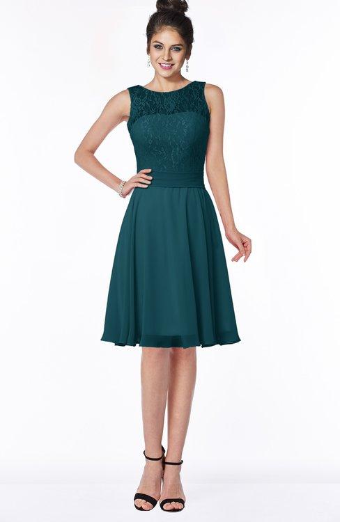 ColsBM Helen Blue Green Glamorous A-line Scoop Zip up Chiffon Sash Bridesmaid Dresses