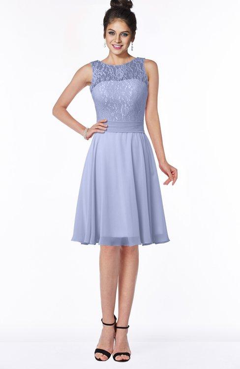 ColsBM Helen Blue Heron Glamorous A-line Scoop Zip up Chiffon Sash Bridesmaid Dresses