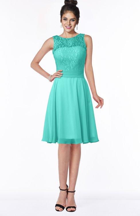ColsBM Helen Blue Turquoise Glamorous A-line Scoop Zip up Chiffon Sash Bridesmaid Dresses