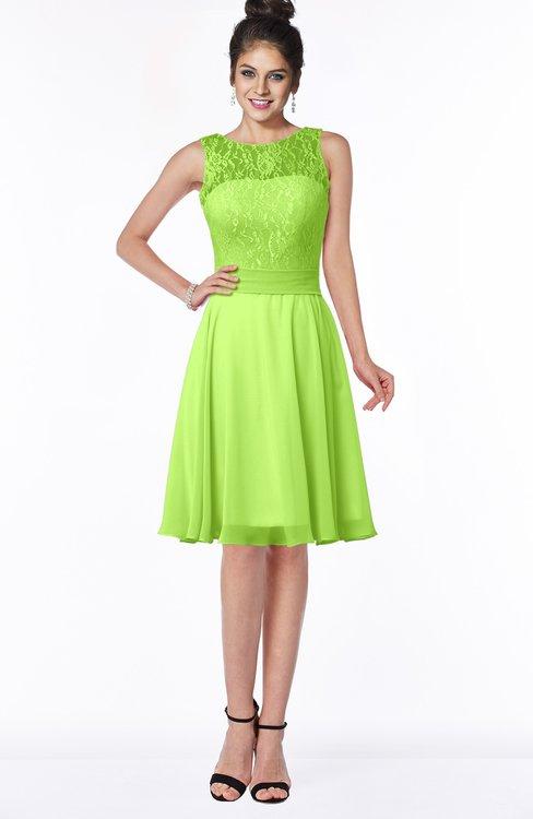 ColsBM Helen Bright Green Glamorous A-line Scoop Zip up Chiffon Sash Bridesmaid Dresses