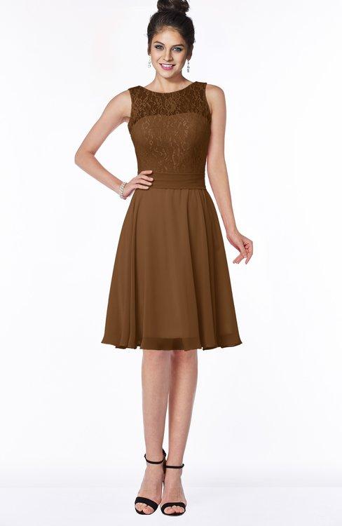 ColsBM Helen Brown Glamorous A-line Scoop Zip up Chiffon Sash Bridesmaid Dresses