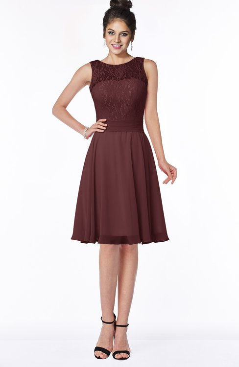 ColsBM Helen Burgundy Glamorous A-line Scoop Zip up Chiffon Sash Bridesmaid Dresses