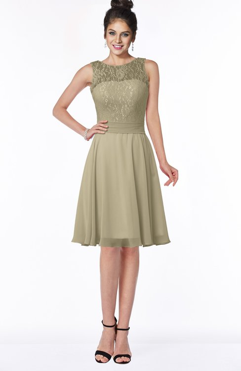 ColsBM Helen Candied Ginger Glamorous A-line Scoop Zip up Chiffon Sash Bridesmaid Dresses