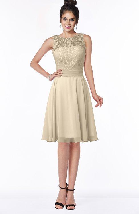 ColsBM Helen Champagne Glamorous A-line Scoop Zip up Chiffon Sash Bridesmaid Dresses