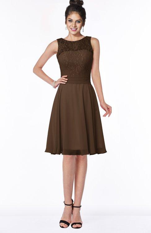 ColsBM Helen Chocolate Brown Glamorous A-line Scoop Zip up Chiffon Sash Bridesmaid Dresses