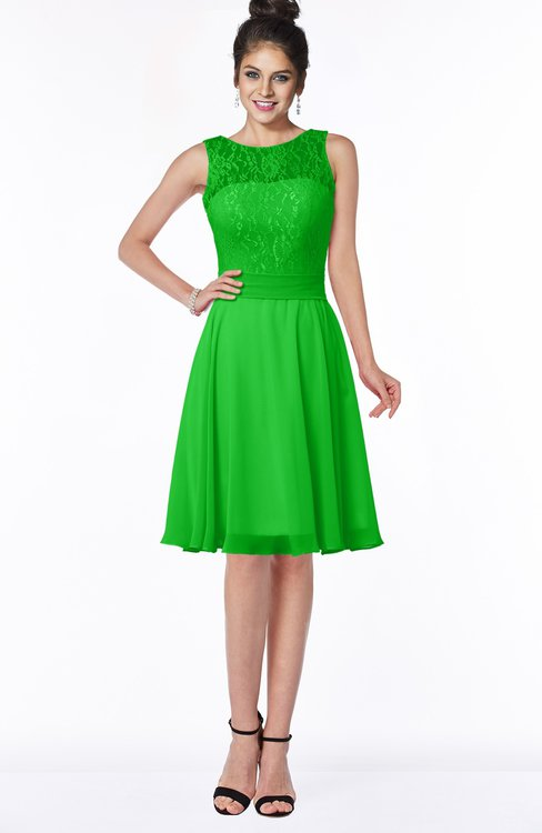 ColsBM Helen Classic Green Glamorous A-line Scoop Zip up Chiffon Sash Bridesmaid Dresses