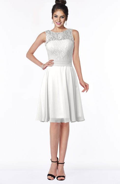 ColsBM Helen Cloud White Glamorous A-line Scoop Zip up Chiffon Sash Bridesmaid Dresses
