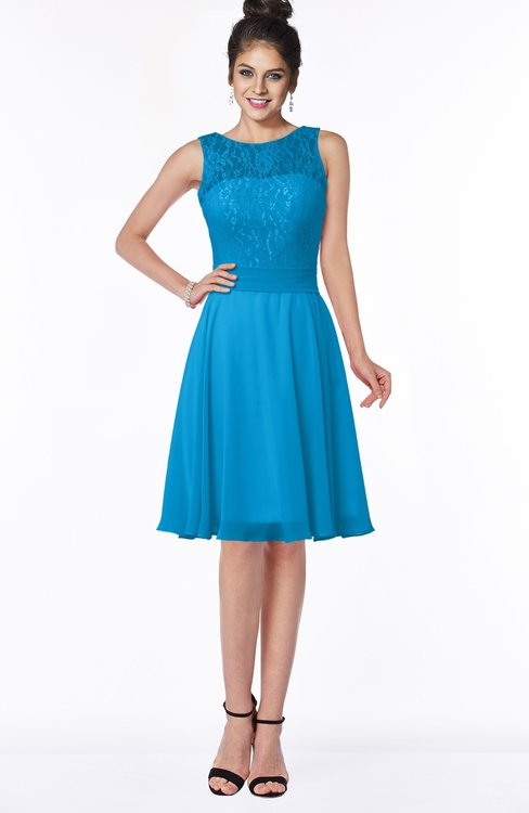 ColsBM Helen Cornflower Blue Glamorous A-line Scoop Zip up Chiffon Sash Bridesmaid Dresses