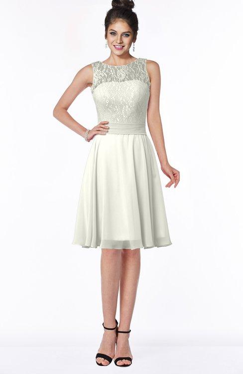 ColsBM Helen Cream Glamorous A-line Scoop Zip up Chiffon Sash Bridesmaid Dresses