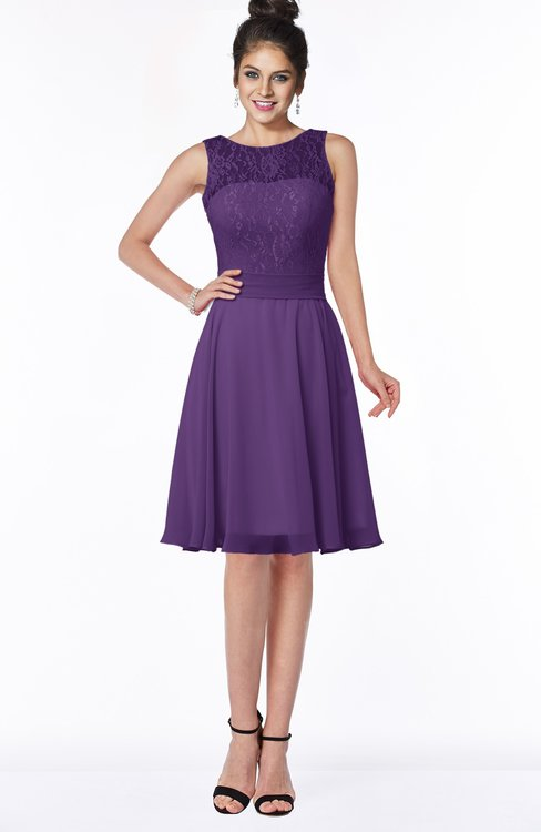 ColsBM Helen Dark Purple Glamorous A-line Scoop Zip up Chiffon Sash Bridesmaid Dresses