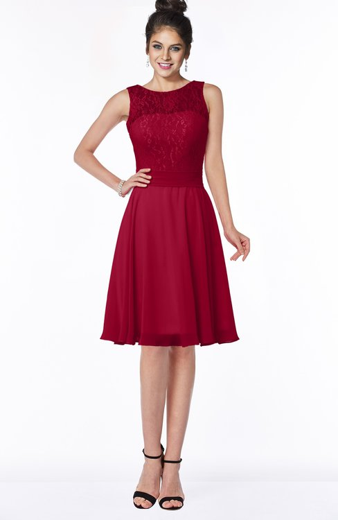 ColsBM Helen Dark Red Glamorous A-line Scoop Zip up Chiffon Sash Bridesmaid Dresses