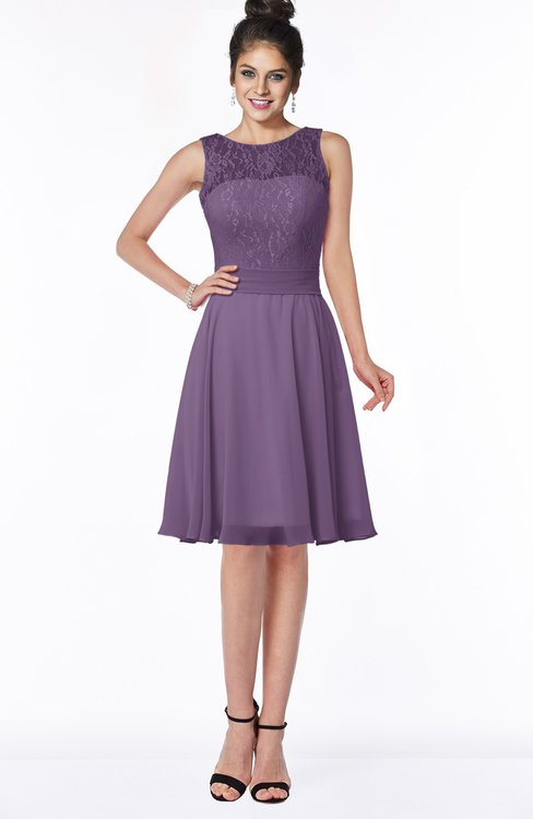 ColsBM Helen Eggplant Glamorous A-line Scoop Zip up Chiffon Sash Bridesmaid Dresses