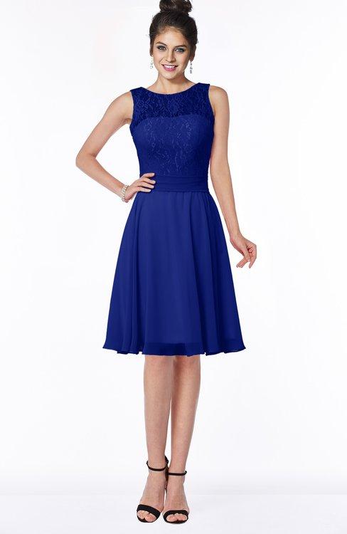 ColsBM Helen Electric Blue Glamorous A-line Scoop Zip up Chiffon Sash Bridesmaid Dresses