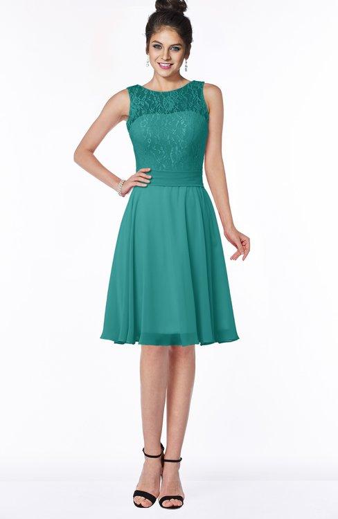 ColsBM Helen Emerald Green Glamorous A-line Scoop Zip up Chiffon Sash Bridesmaid Dresses