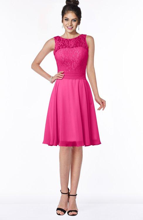ColsBM Helen Fandango Pink Glamorous A-line Scoop Zip up Chiffon Sash Bridesmaid Dresses