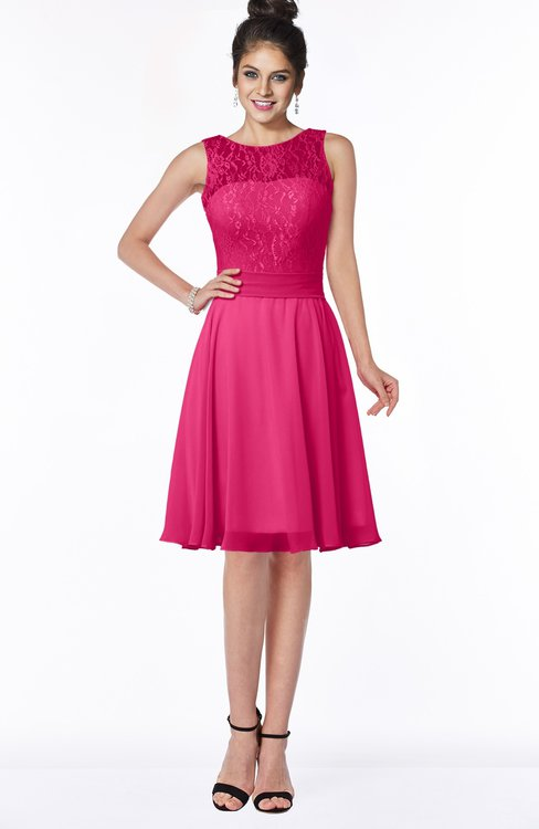 ColsBM Helen Fuschia Glamorous A-line Scoop Zip up Chiffon Sash Bridesmaid Dresses