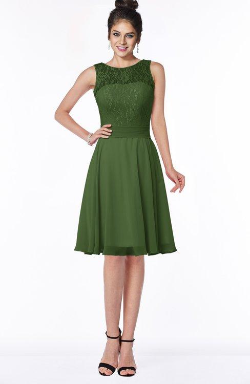 ColsBM Helen Garden Green Glamorous A-line Scoop Zip up Chiffon Sash Bridesmaid Dresses