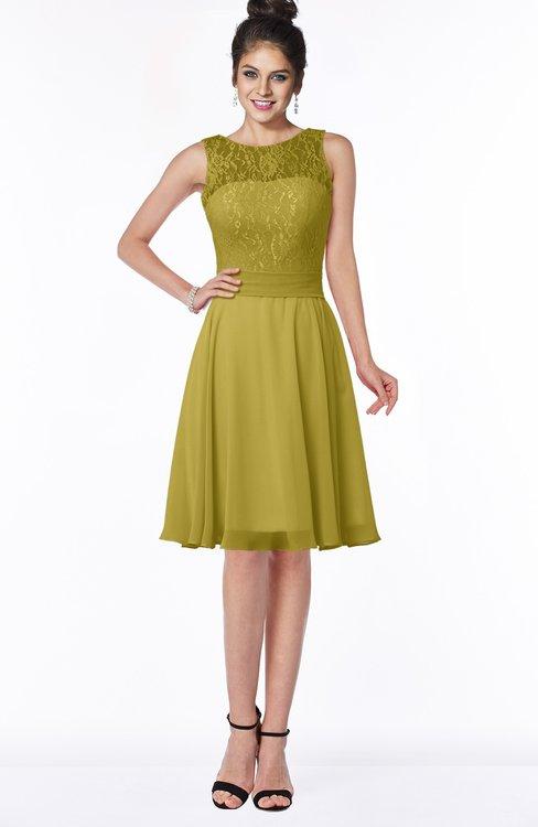 ColsBM Helen Golden Olive Glamorous A-line Scoop Zip up Chiffon Sash Bridesmaid Dresses