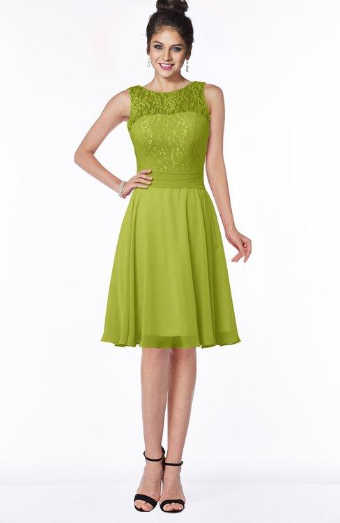 ColsBM Helen Green Oasis Glamorous A-line Scoop Zip up Chiffon Sash Bridesmaid Dresses