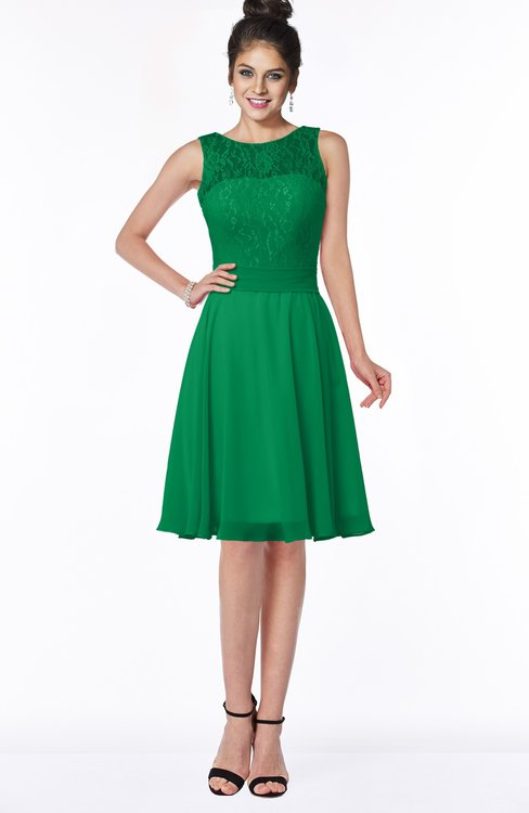 ColsBM Helen Green Glamorous A-line Scoop Zip up Chiffon Sash Bridesmaid Dresses
