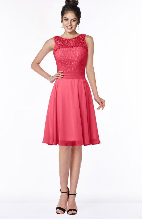 ColsBM Helen Guava Glamorous A-line Scoop Zip up Chiffon Sash Bridesmaid Dresses