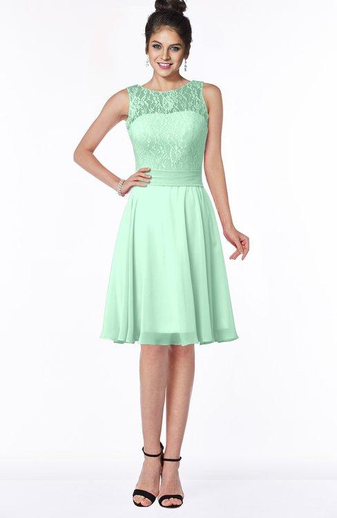 ColsBM Helen Honeydew Glamorous A-line Scoop Zip up Chiffon Sash Bridesmaid Dresses