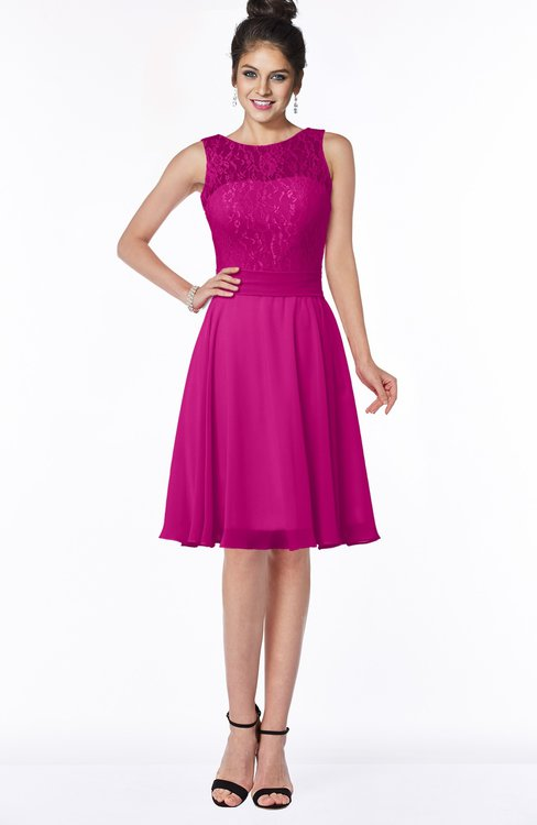 ColsBM Helen Hot Pink Glamorous A-line Scoop Zip up Chiffon Sash Bridesmaid Dresses