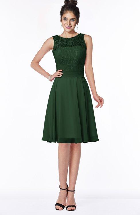 ColsBM Helen Hunter Green Glamorous A-line Scoop Zip up Chiffon Sash Bridesmaid Dresses