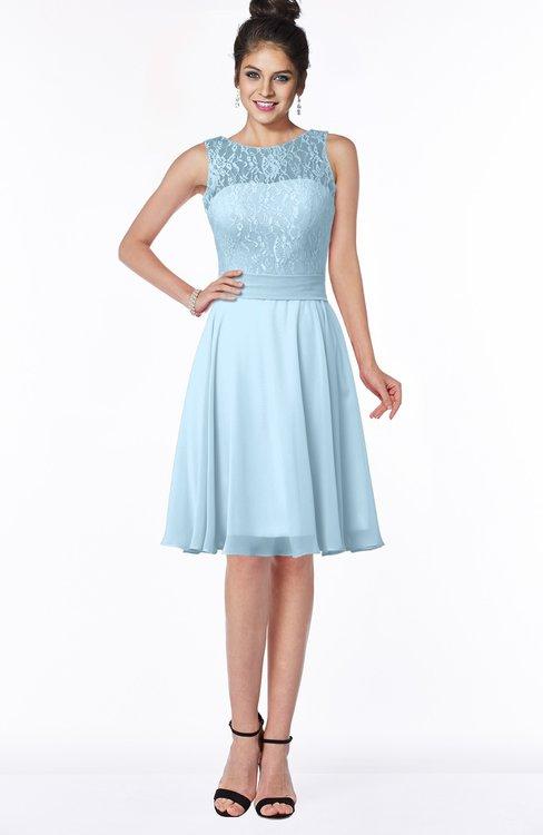 ColsBM Helen Ice Blue Glamorous A-line Scoop Zip up Chiffon Sash Bridesmaid Dresses