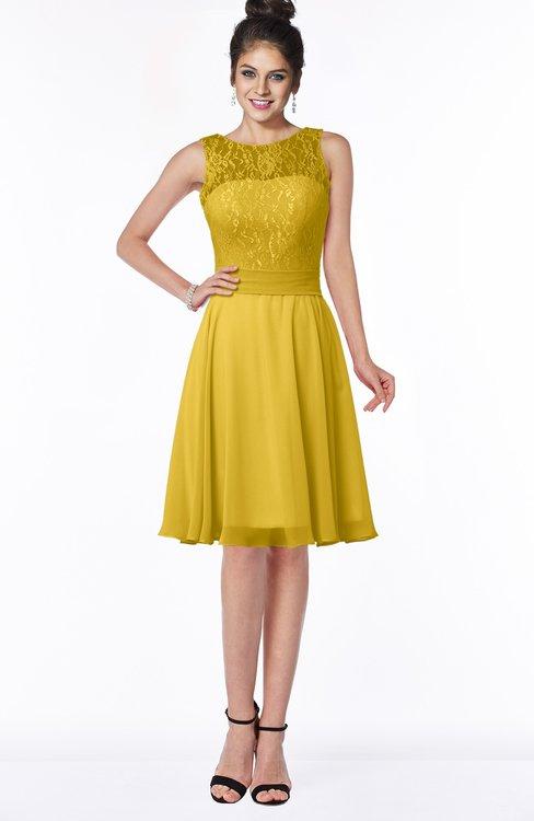 ColsBM Helen Lemon Curry Glamorous A-line Scoop Zip up Chiffon Sash Bridesmaid Dresses