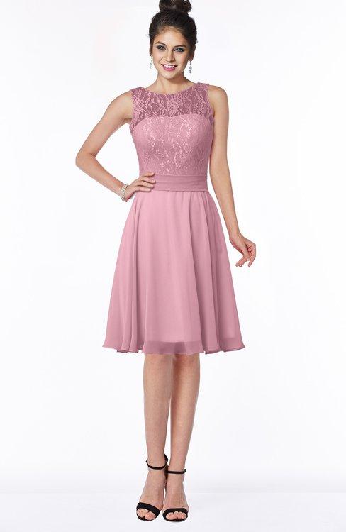 ColsBM Helen Light Coral Glamorous A-line Scoop Zip up Chiffon Sash Bridesmaid Dresses