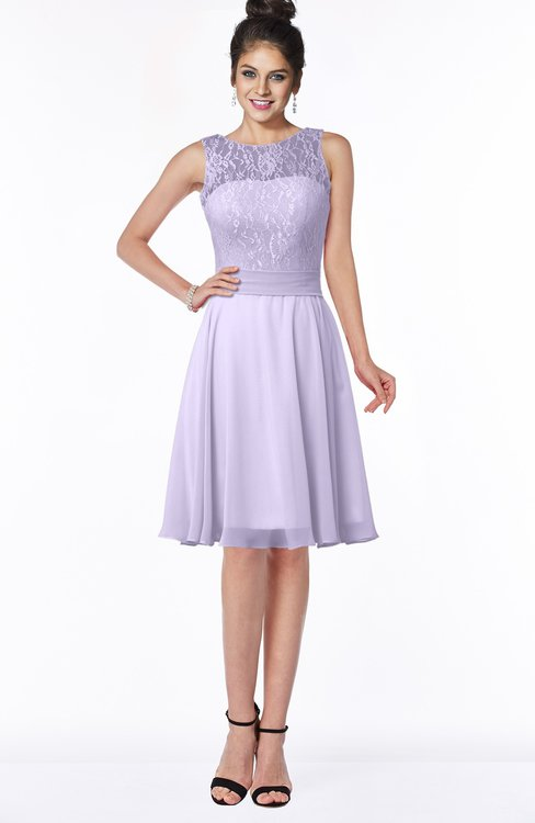 ColsBM Helen Light Purple Glamorous A-line Scoop Zip up Chiffon Sash Bridesmaid Dresses
