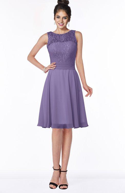 ColsBM Helen Lilac Glamorous A-line Scoop Zip up Chiffon Sash Bridesmaid Dresses