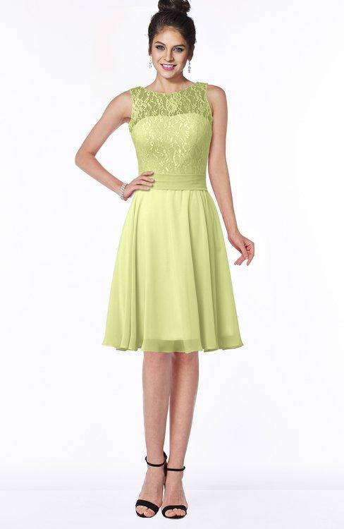 ColsBM Helen Lime Green Glamorous A-line Scoop Zip up Chiffon Sash Bridesmaid Dresses