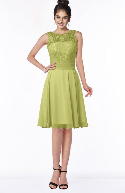 ColsBM Helen Linden Green Glamorous A-line Scoop Zip up Chiffon Sash Bridesmaid Dresses