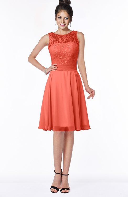 ColsBM Helen Living Coral Glamorous A-line Scoop Zip up Chiffon Sash Bridesmaid Dresses