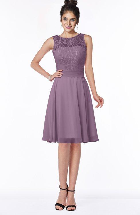 ColsBM Helen Mauve Glamorous A-line Scoop Zip up Chiffon Sash Bridesmaid Dresses